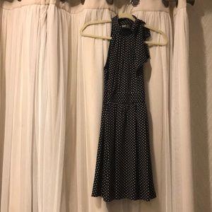 Express Black mock neck dress w/ white polka dots